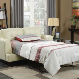 Samuel Transitional Cream Sleeper loveseat