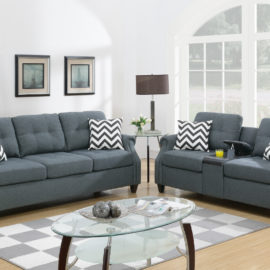 If you want to give your living space a classic look, this stylish two pieces sofa set that comes with the love seat is the perfect choice. Both the sofa and the love seat have two vibrant pattern pillows for each to contract with the modest colors of the soft fabric. The loveseat even include a USB console and cupholders for you to relax and enjoy your down time with your family while charging phones after a long day. Available in blue grey, light coffee, and dark coffee.