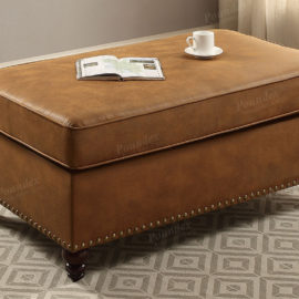 Leatherette Ottoman Brown