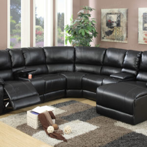 faux leather sectional in Black with chaise
