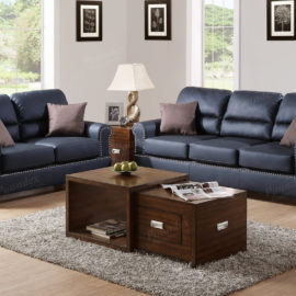 Barrel Back Black Sofa set
