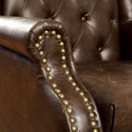 Vaugh B Leather ottoman chair arm