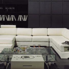 T63 Divani Casa white leather Sectional