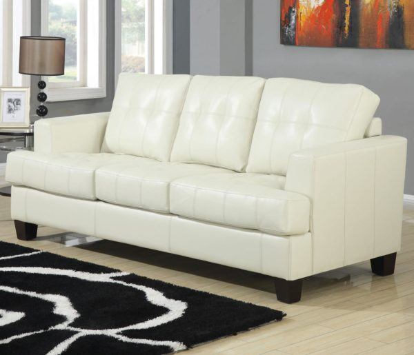 White B Leather sofa sleeper