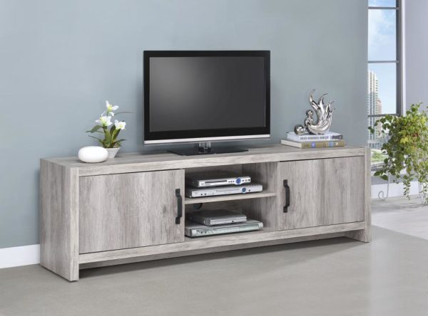 """71"""" TV Stand in Grey driftwood."""