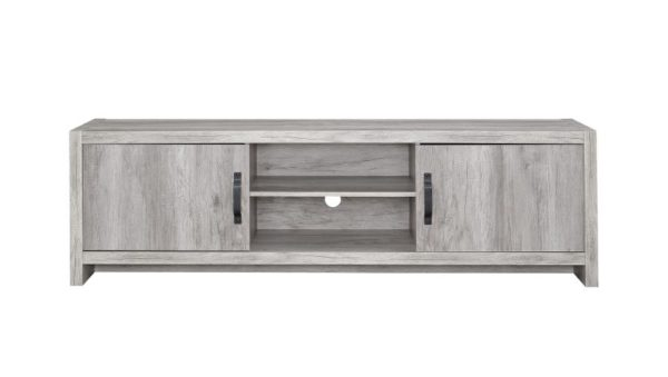 "71"" TV Stand in Grey driftwood."