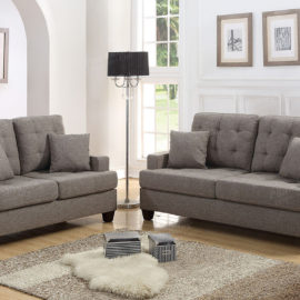 Straight arm sofa and loveseat