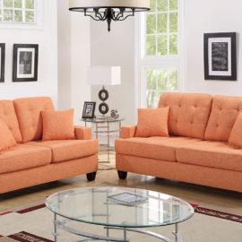Straight arm sofa and loveseat