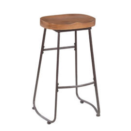 Rustic Bar Stool with Saddle Seat