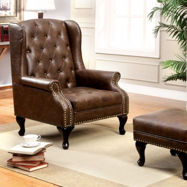 Vaugh B Leather ottoman & Chair
