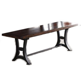 Astor Metal base wood top bench