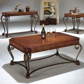 classic metal and wood cocktail table set
