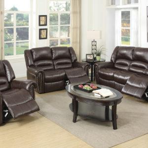 Recliner sofa set bonded leather Brown