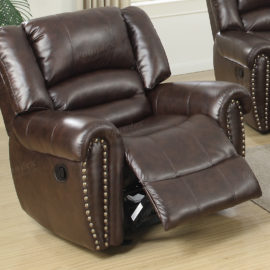 Recliner sofa set bonded leather brown