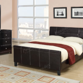 Block style upholstered queen bed frame