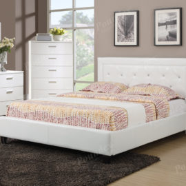 White Faux Leather upholstered bed frame
