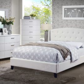 9296 White tufted upholstered bed