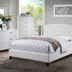 9296 White tufted upholstered bed