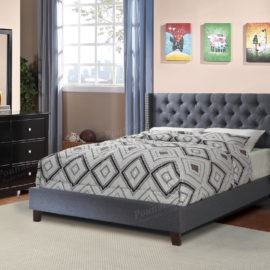 Grey upholstered tufted bed