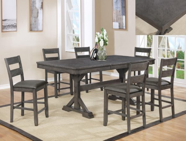 Modern Grey 6 Chairs Dining Set