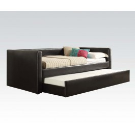 black faux leather daybed