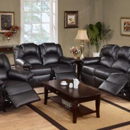 Faux leather recliner sofa set