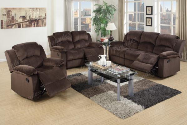 Contemporary Recliner Suede Sofa Set
