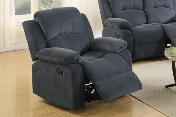 blue grey recliner chair
