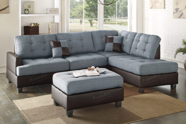 3-Pcs Sectional Sofa in 3 Colors