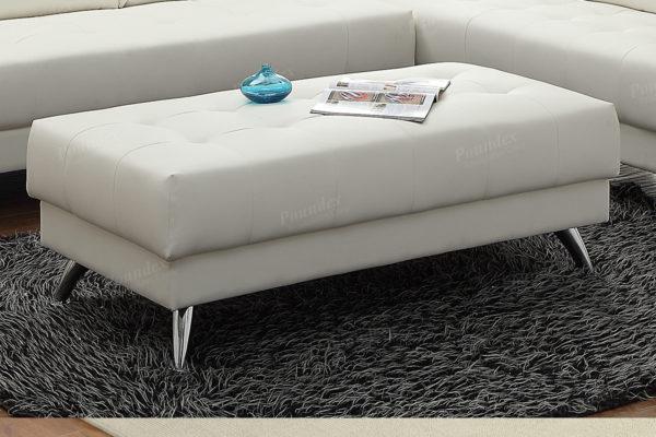 white leatherette ottoman