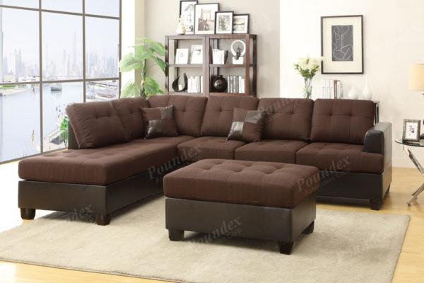 Sofa Chaise Ottoman chocolate