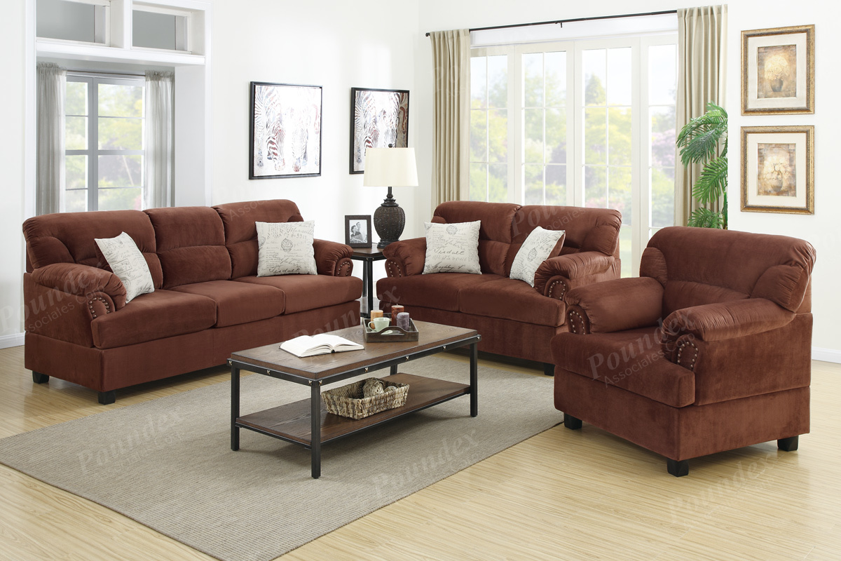3-Pcs Sofa Set in 2 Colors - Paradise Furniture Store