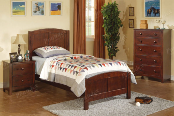 Brown twin bed frame