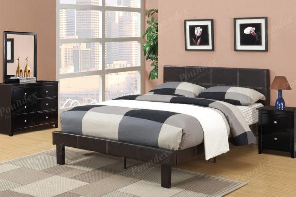 espresso leather twin full upholstered bed