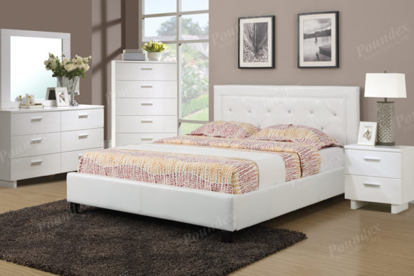 White Faux Leather Upholstered Bed - Paradise Furniture Store