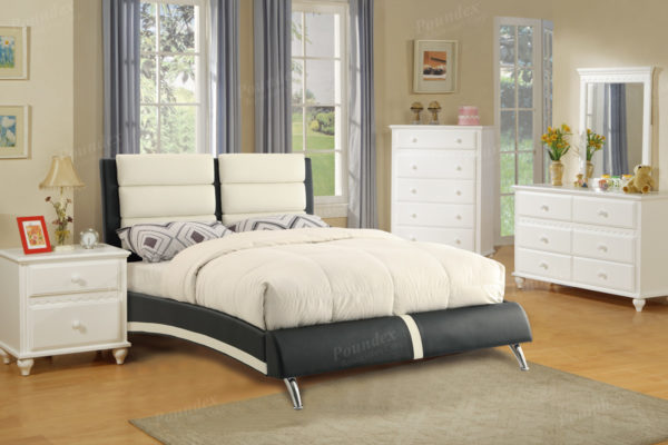 Black Faux Leather upholstered bed frame