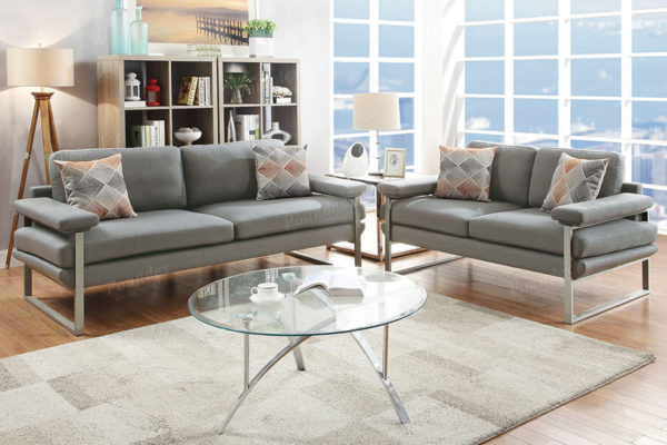 Stupendous Plush 2 Pc Grey Sofa Loveseat Set Interior Design Ideas Clesiryabchikinfo