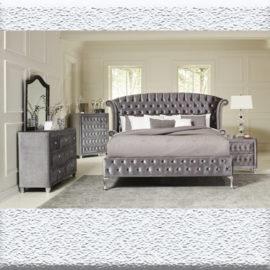 Deanna Tufted Upholstered Bed Grey