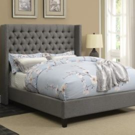 wing upholstered bed frame with button tufting