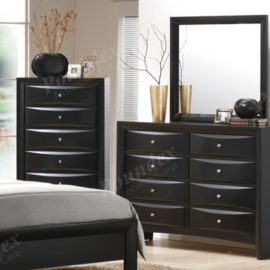 Black Faux Leather Dresser Chest