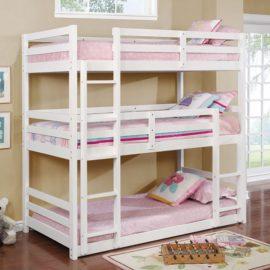 triple bunk bed white