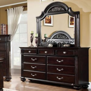 walnut traditional bed dresser