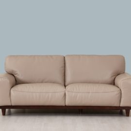 Beige leather and wood frame sofa