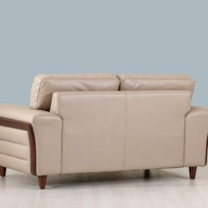 Beige leather and wood frame loveseat