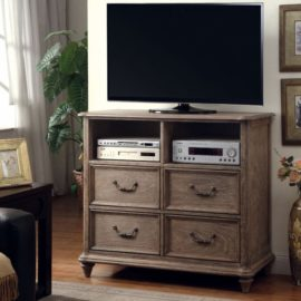 natural wood rustic bed media chest