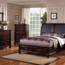 Brown wood upholstered bed