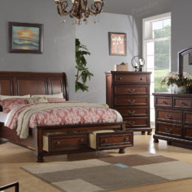 Brown wood upholstered bed front drawers
