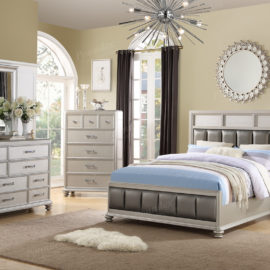 Modern tufted silver bed frame