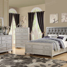 Modern tufted silver bed frame