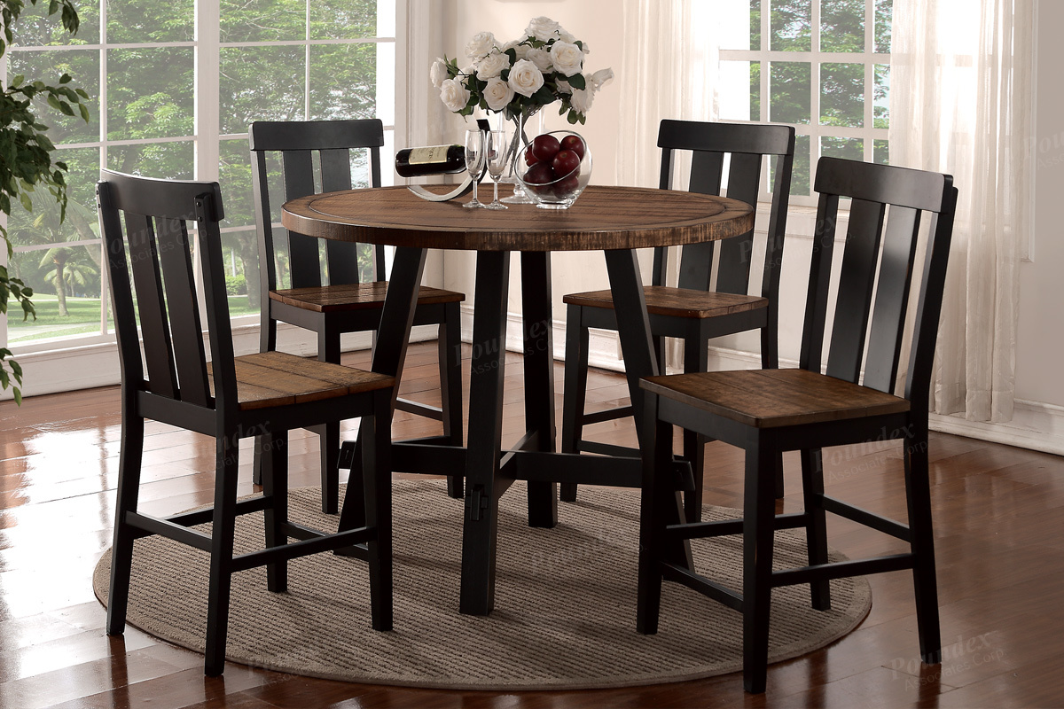 Distressed Round Counter H Dining Table & 4 Chairs ...
